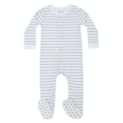 Baby/Toddler Organic Footed Striped Bodysuit in Zen Blue