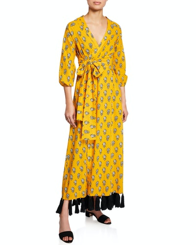 Lena Tassel-Hem Wrap Dress