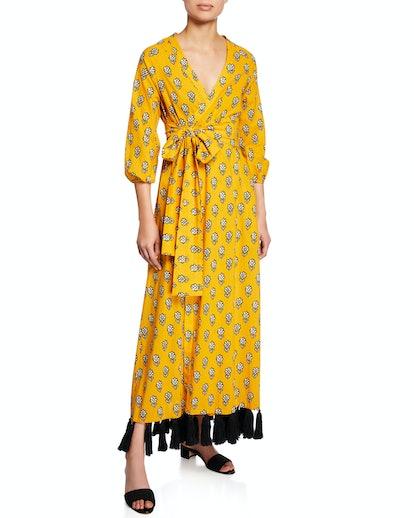 Lena Tassel-Hem Wrap Dress