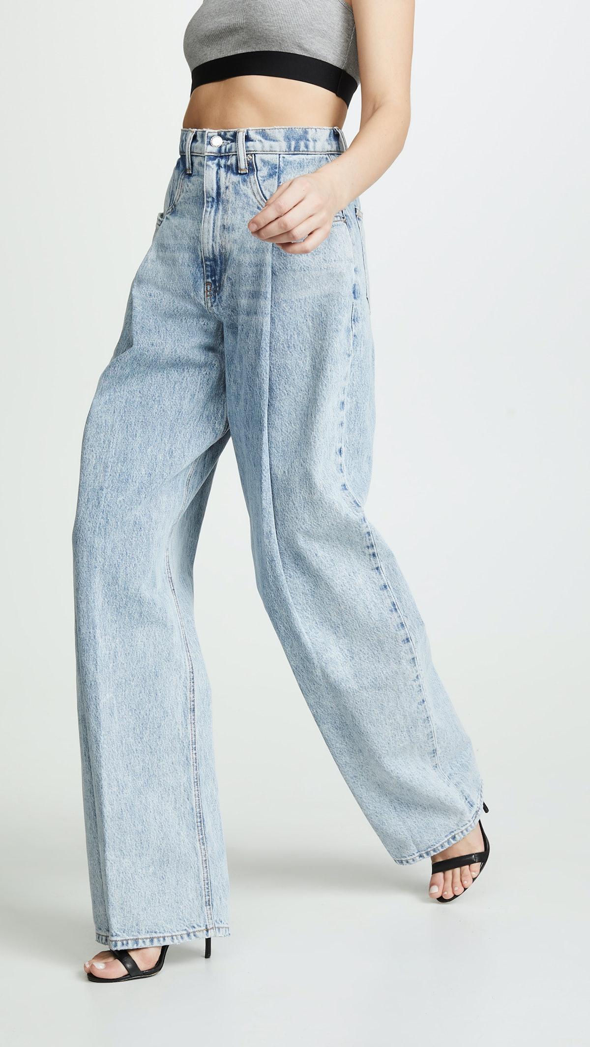 Brace Pleated Jeans