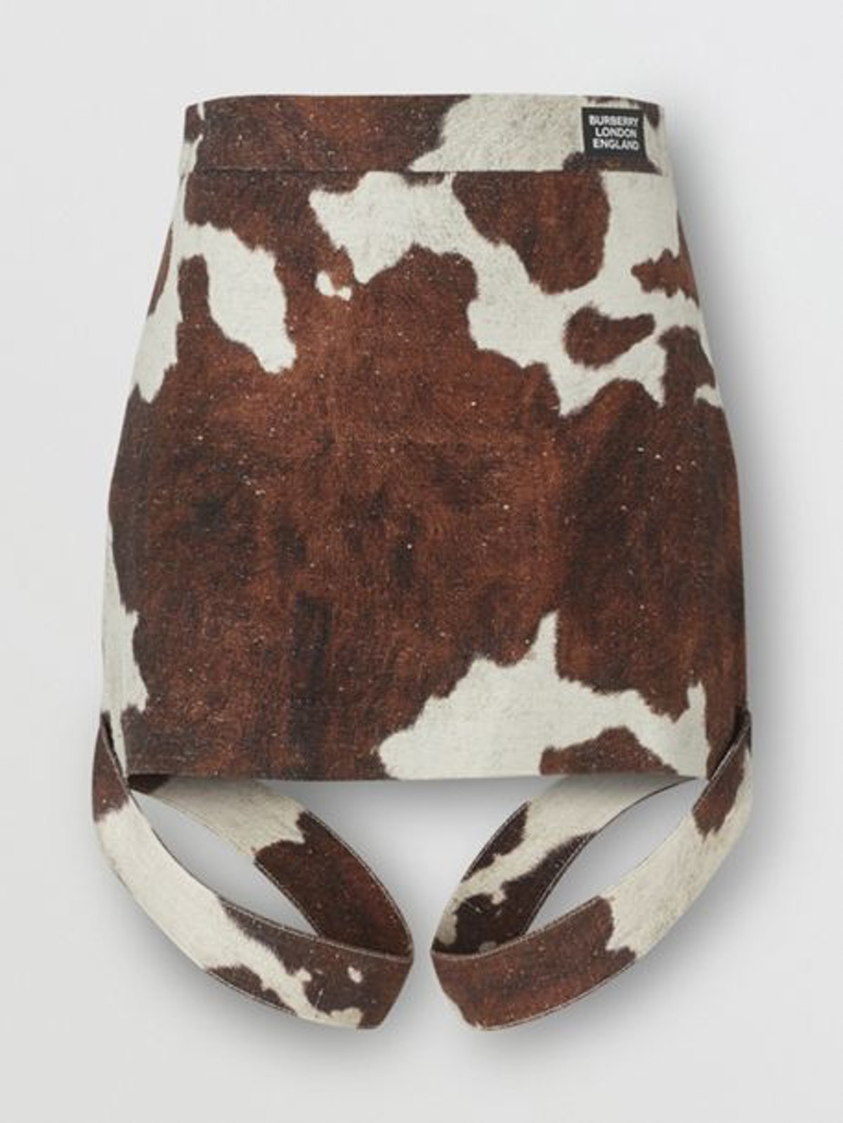 Strap Detail Animal Print Cotton Linen Mini Skirt
