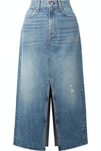 Clyde Distressed Denim Midi Skirt