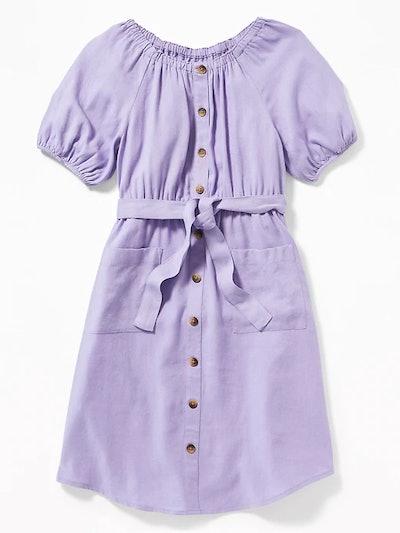 Linen-Blend Tie-Belt Shirt Dress