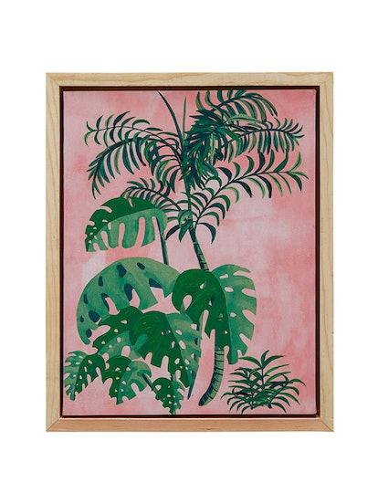 Palm Springs Pink Brush Natural Wood Framed Canvas