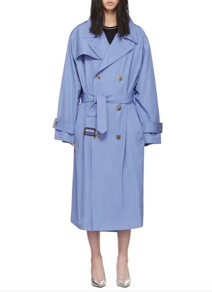 Blue Poplin Trench Coat