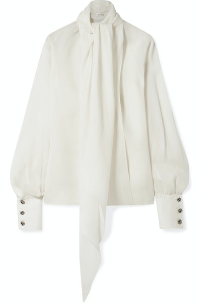 Asta Pussy-Bow Silk-Crepe Blouse