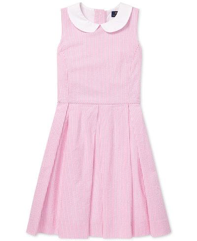 Seersucker Fit & Flare Cotton Dress
