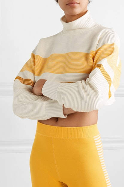 Cropped Striped Ribbed Organic Cotton Turtleneck Sweater