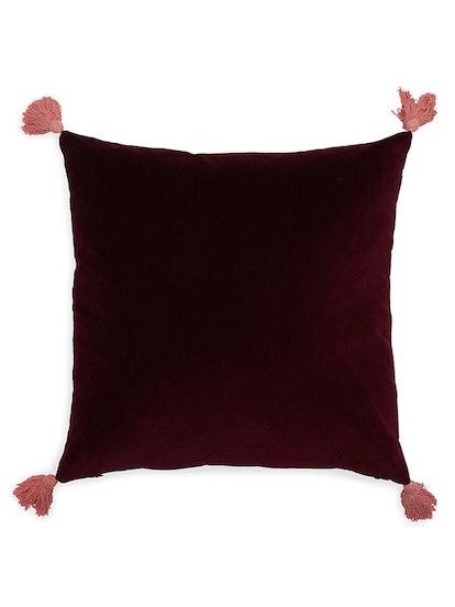 Velvet Decorative Throw Pillow With Tassels
