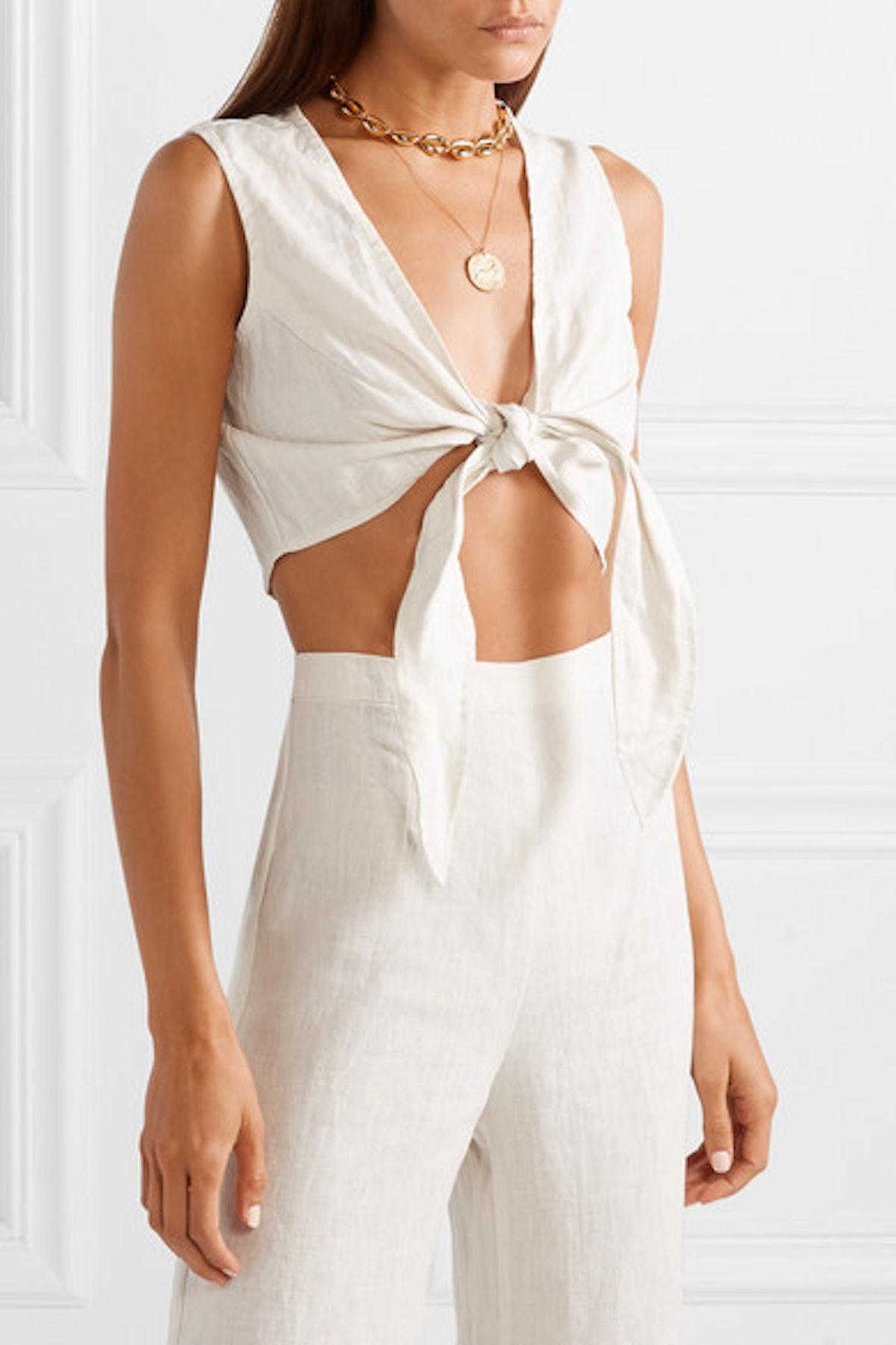 Marcie Cropped Tie-Front Linen Top
