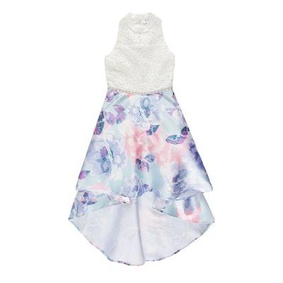Mandarin Collar High-Low Dress