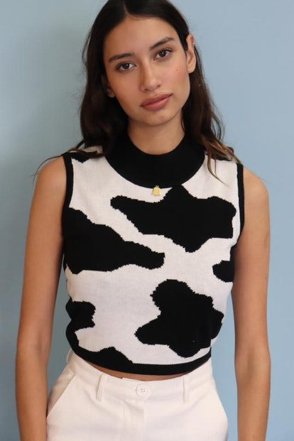 Cow Print Knit Crop Top