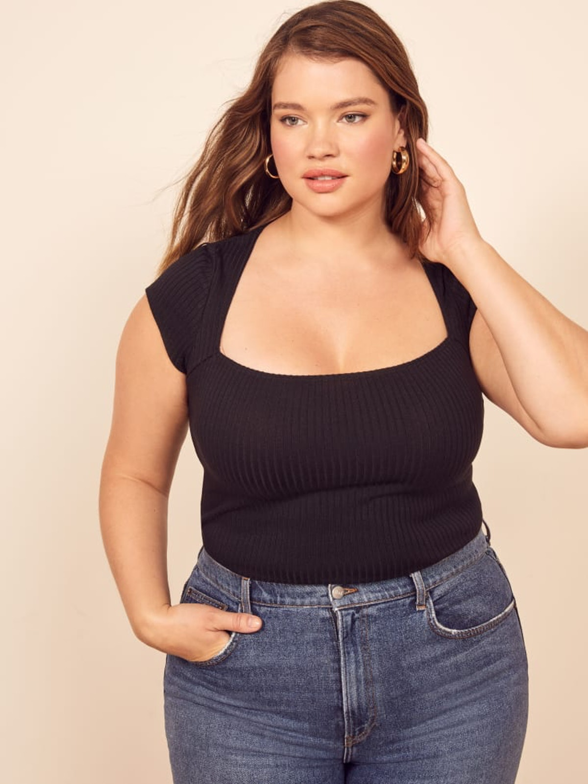 Extended Sizes Bardot Top