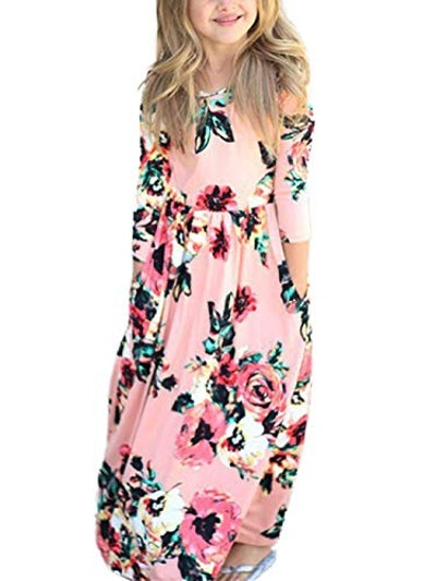Girls 3/4 Sleeve Floral Maxi Dress