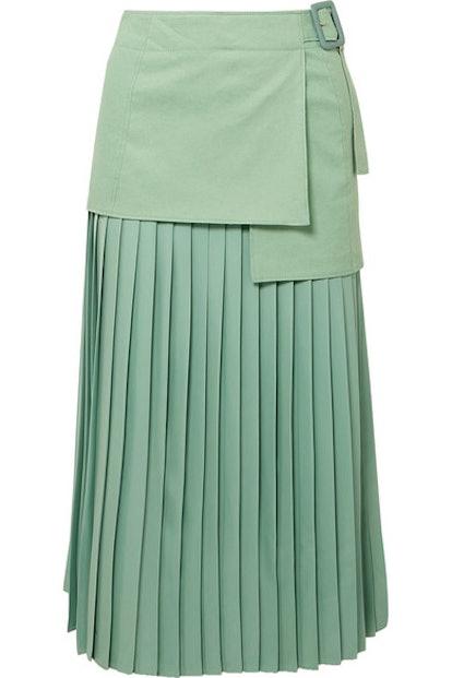 Billie Pleated Silk Crepe De Chine Midi Skirt