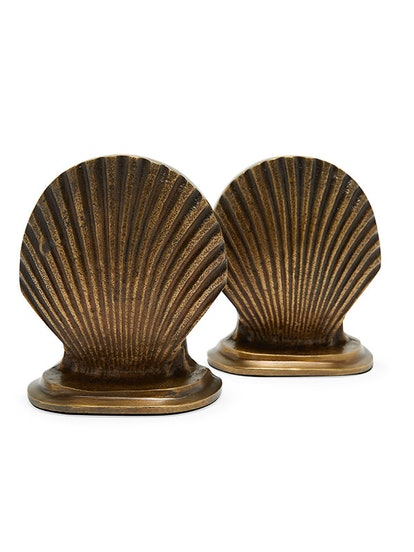 Antique Brass Sea Shell Bookends