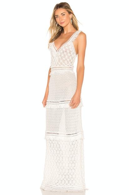 Jonathan Simkhai Lace Combo V Neck Maxi Dress