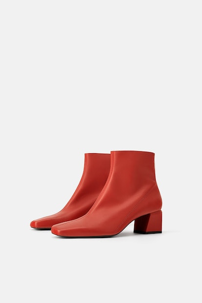 Red Leather Square Heeled Ankle Boots