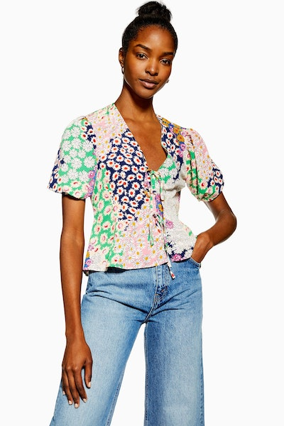 Topshop Mixed Floral Double Tie Top