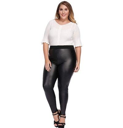 MCEDAR Women's Faux Leather Plus Size Leggings