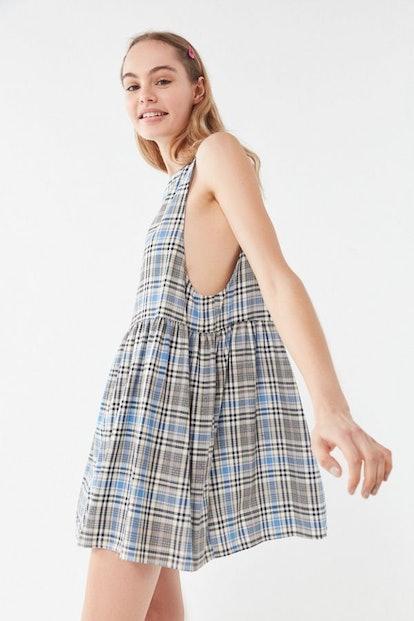 Remnants Plaid Babydoll Dress