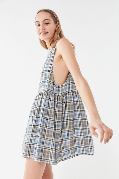 Remnants Plaid Babydoll Dress
