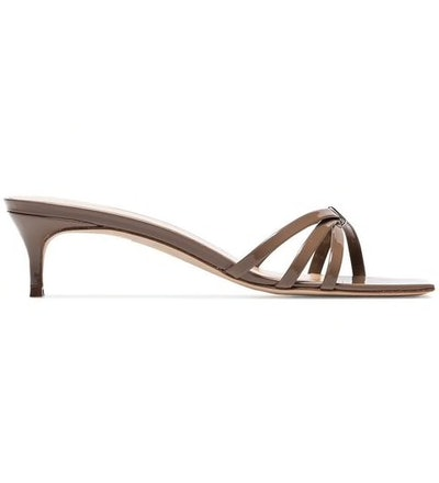 Brown Libra 45 Patent Leather Strappy Mules