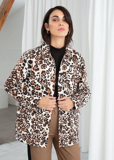 & other stories Jaguar Print Cotton Workwear Jacket