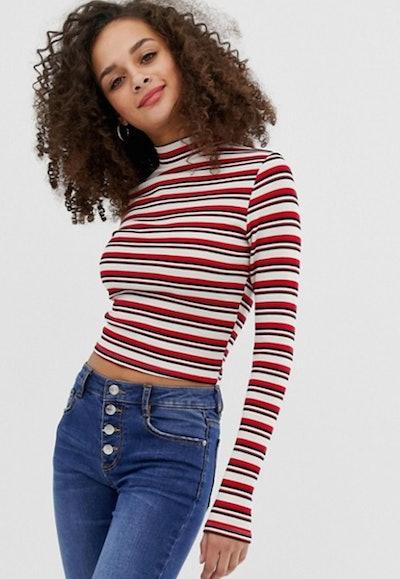 ASOS polo neck top in retro stripe