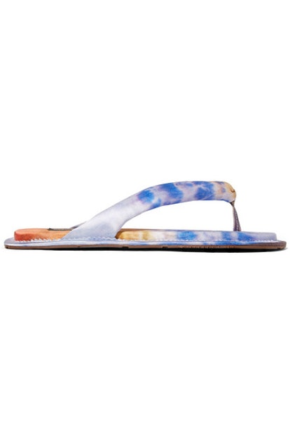 Kaname Printed Satin Flip Flops