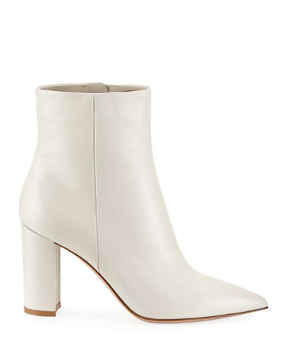 Pointy-Toe Leather Block-Heel Bootie