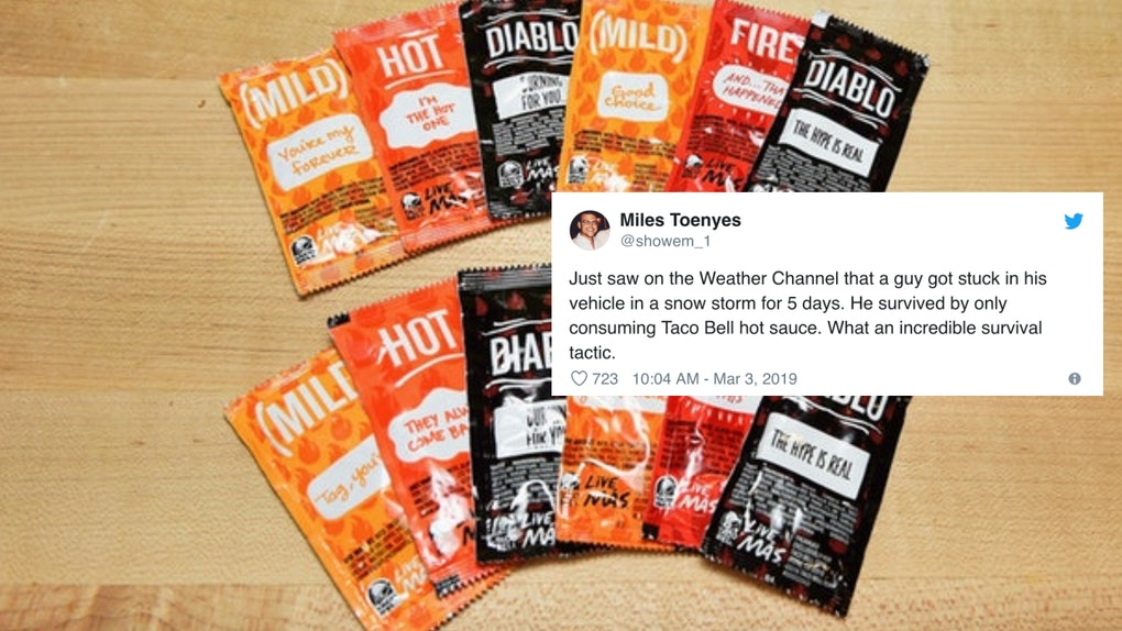 These Tweets About A Stranded Man Eating Taco Bell Sauce Packets Are So Impressed Make mild taco sauce with this copycat taco bell sauce recipe using healthy ingredients. eating taco bell sauce packets