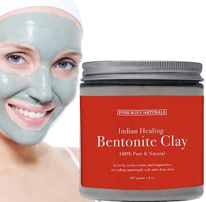 Sodium Bentonite Clay Mask, 100% Pure Indian Healing Clay Bentonite Powder Detox Face Mask