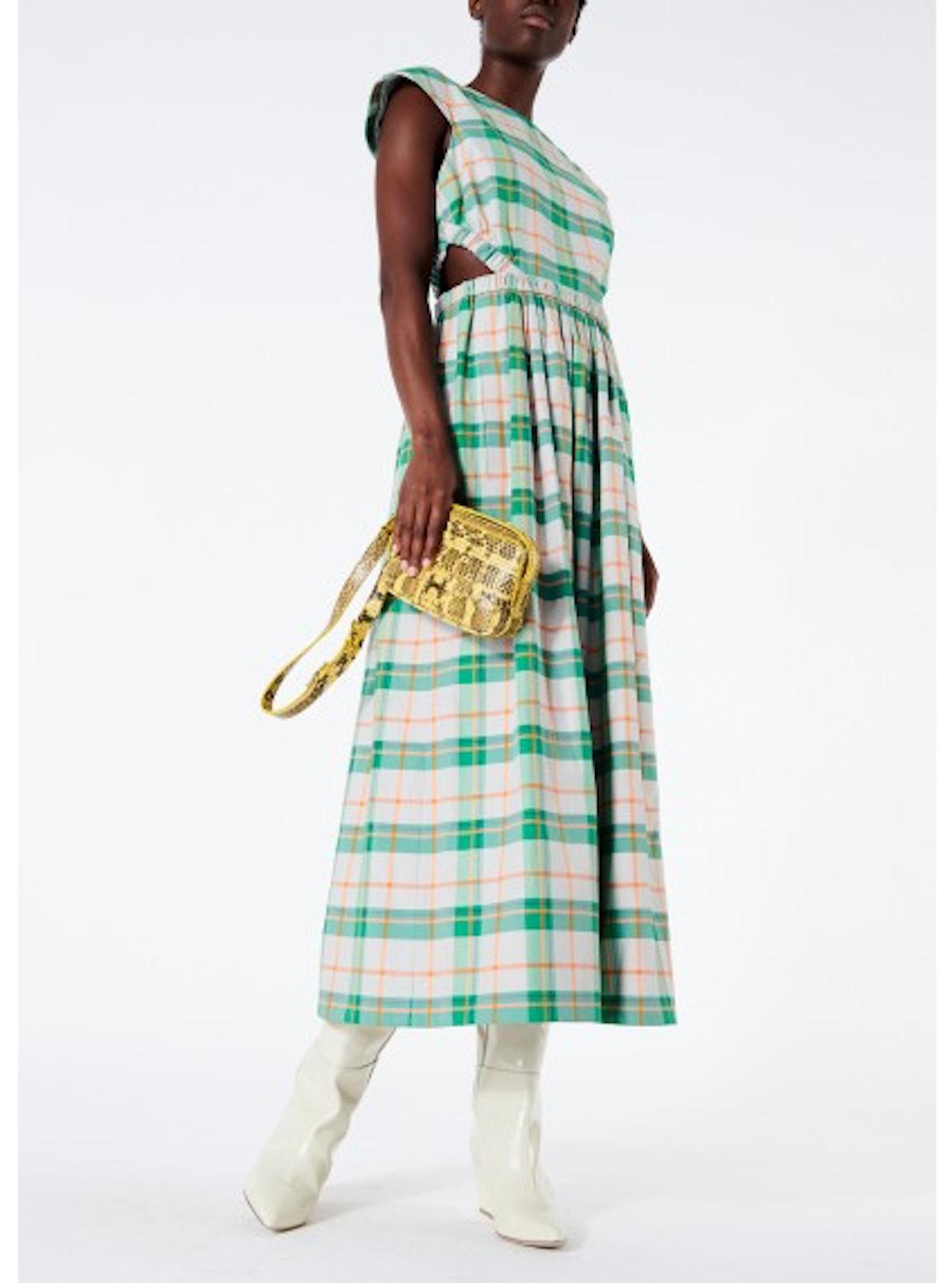 Hani Plaid Cap Sleeve Long Dress