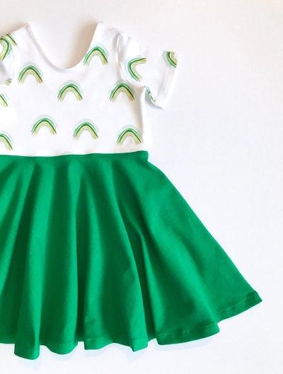 Rainbow St Patrick's Day Twirl Dress