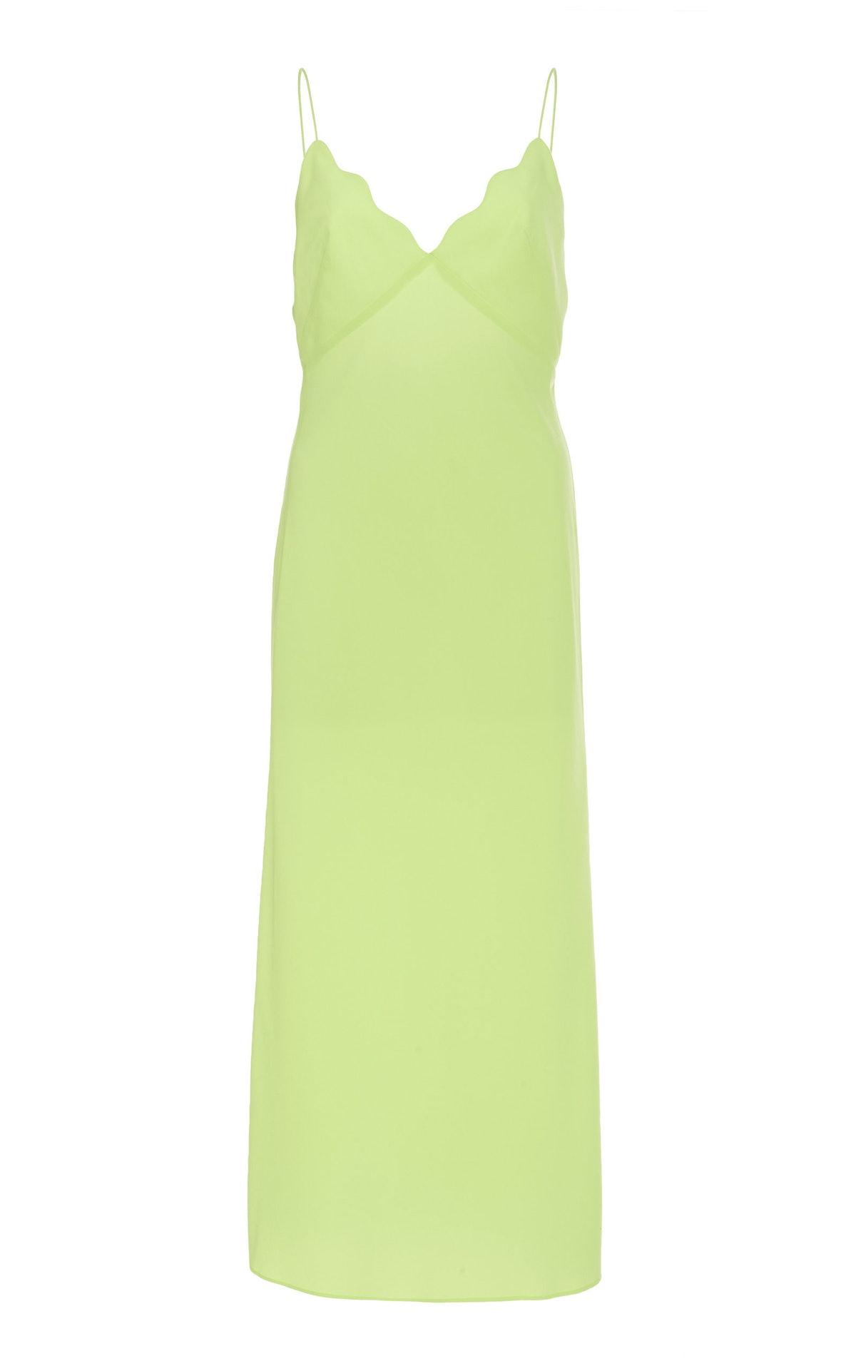 Aviel Scalloped Midi Slip Dress