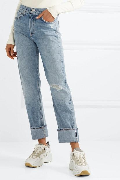Distressed High-Rise Straight-Leg Seans