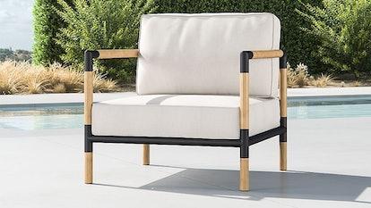 Barra Teak/Metal Lounge Chair with Silver Sunbrella ® Cushions