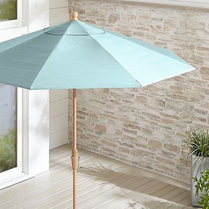 9' Round Sunbrella ® Soft Mineral Patio Umbrella with Tilt Faux Wood Frame