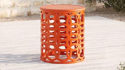 Lattice Circles Large Orange Side Table