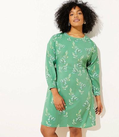 Flower Branch Flare Shirtdress