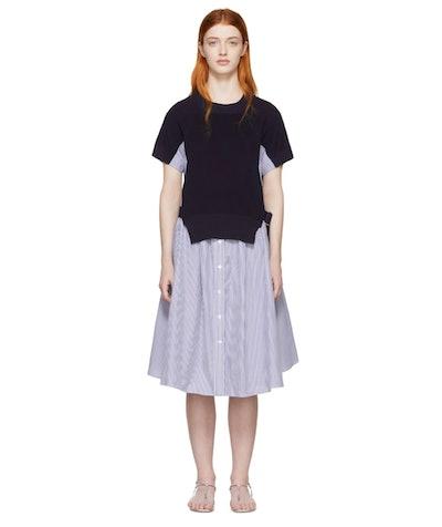 Blue & White Knit Panel Dress