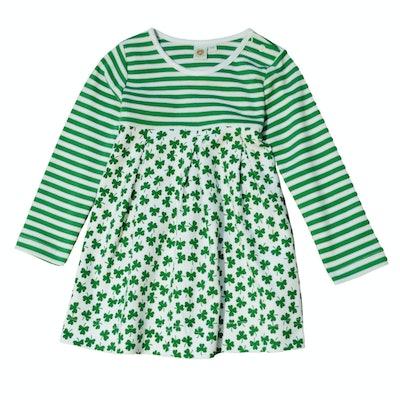 St. Patrick's Day Striped Dress With Green Shamrock Pattern