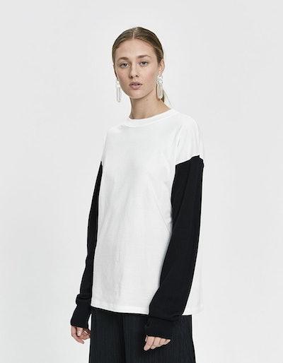Long Sleeve Half-Knit Logo Tee