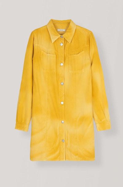 Colored Soft Denim Shirt Dress