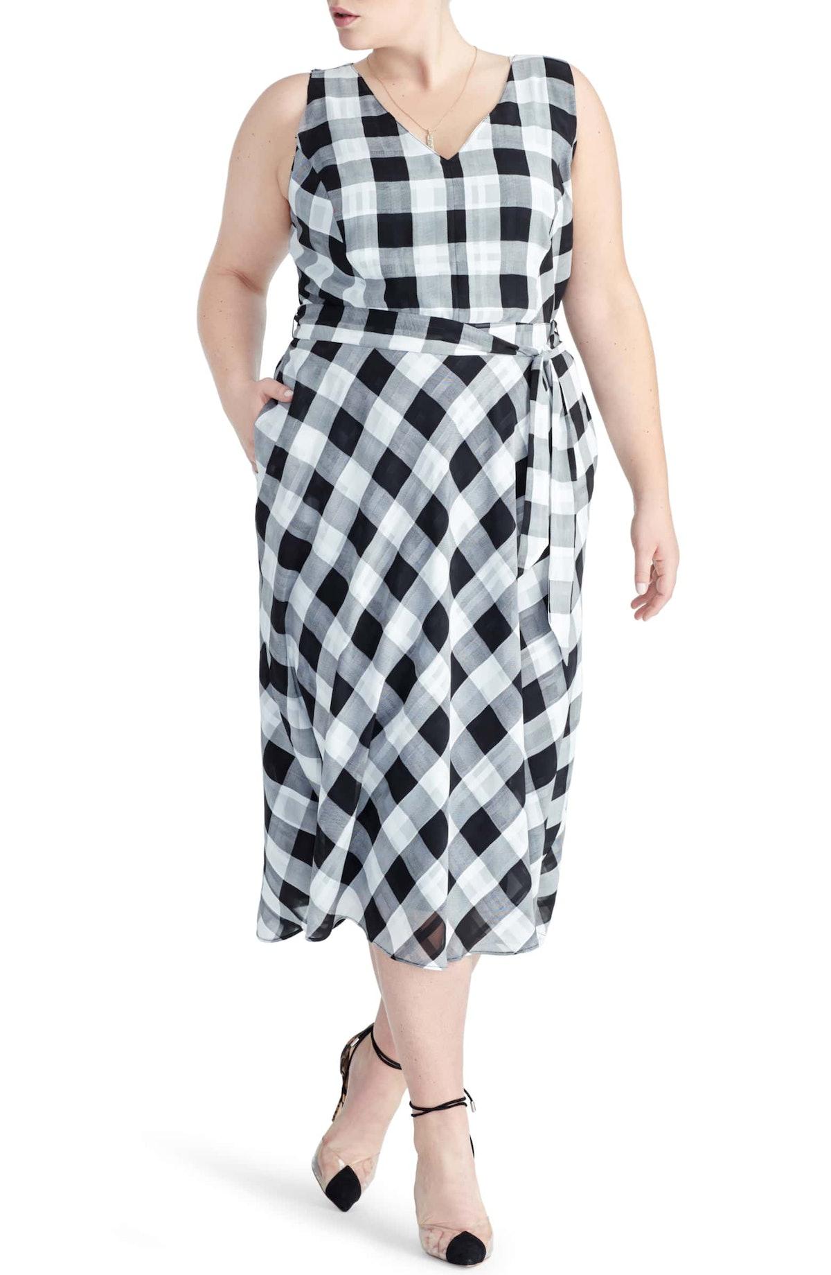 Check Print A-Line Dress