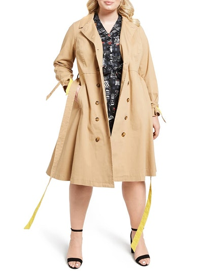 Contrast Belt Trench Coat