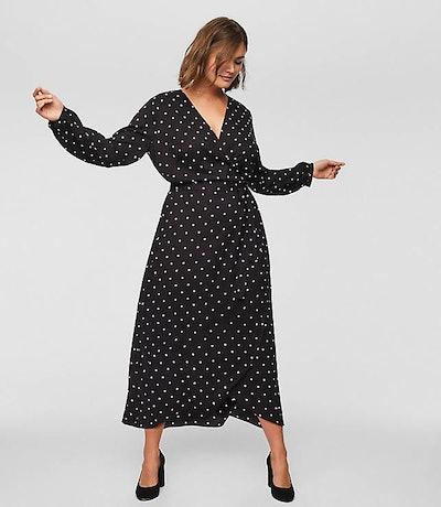 LOFT Plus Polka Dot Warp Midi Dress