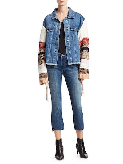 Fringed Knit-Sleeve Denim Jacket