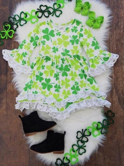 Good Luck Shamrock Boho Lace Flare Dress